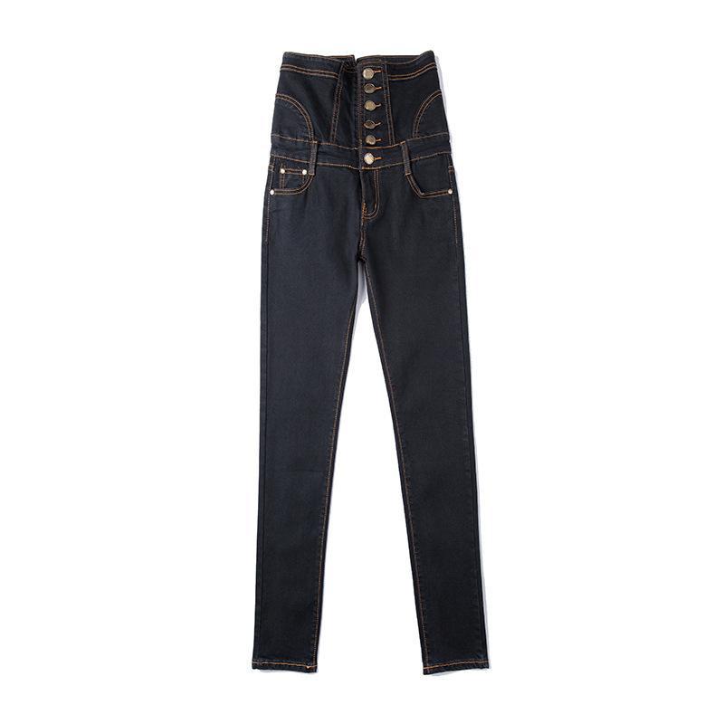 Fleece quente de inverno feminino ou jeans de cintura alta sem largura Plus Grande Lace-Up Botons Skinny Elastic Denim Lápis Calças