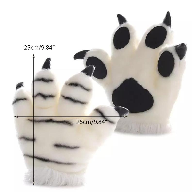 시뮬레이션 호랑이 봉제 장갑 줄무늬 솜털 동물 박제 장난감 패딩 된 손 따뜻한 할로윈 코스프레 의상 벙어리 5 손가락