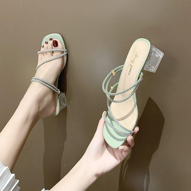 Sandalen 2021 Mode Frauen Hausschuhe Square Tief Heels Sommer Flip Flops Marke Slipper Elegante Folien Zebra Schuhe Zapatillas Mujer