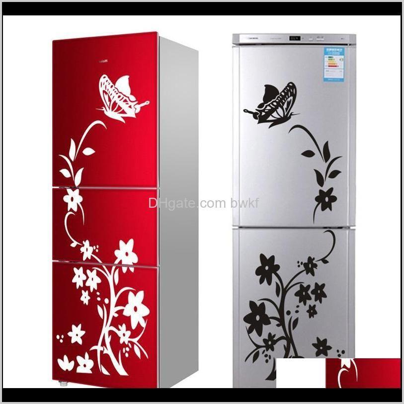 Décor Bahçe Damla Teslimat 2021 Yüksek Kalite Yaratıcı Buzdolabı Siyah Sticker Kelebek Desen Çıkartmalar Ev Dekorasyon Mutfak Duvar AR