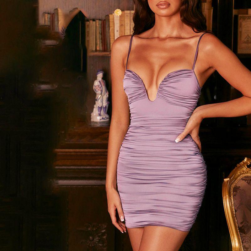 Sexy Womens Dress Spaghetti Strap V-ne Sleeveless Baless Summer Ruched Bodycon Casual Elegant Party Dress Women