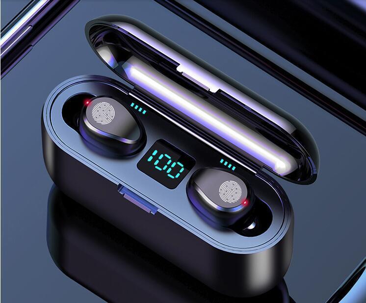 F9 F9-B Wireless Ohrhörer Bluetooth V5.0 Kopfhörer HIFI Stereo-Ohrhörer LED-Anzeige Touch Control 2000mAh Power Bank Headset mit MIC