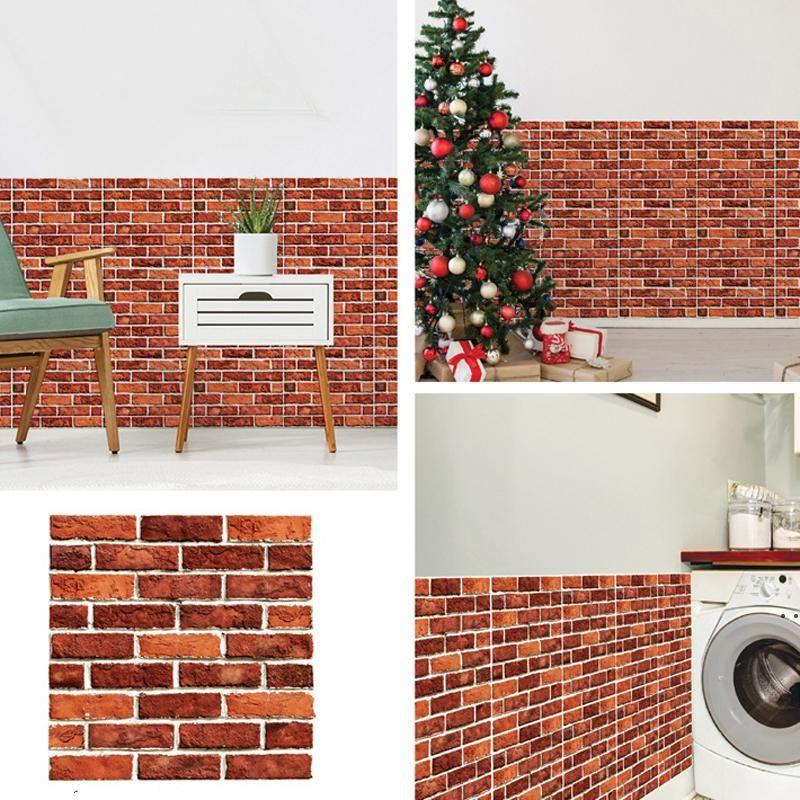 DIY Brick Stone Self Adhesive Waterproof Wall Paper 30*30cm 3D Wallpaper Stickers Home Decor Kitchen Bathroom Living Room Sticker EWA5540
