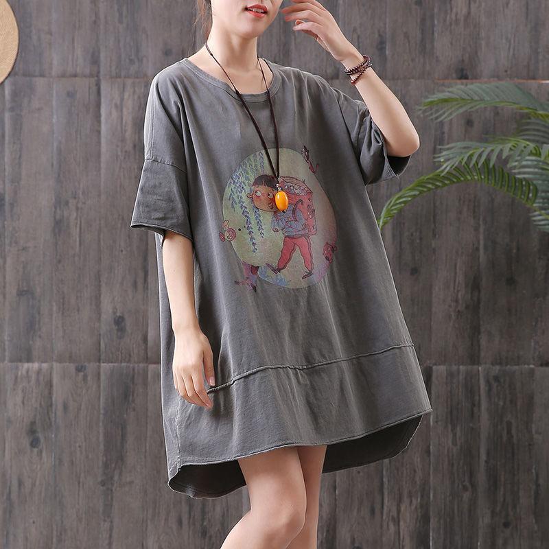 Camiseta Chegada Verão Coreia Moda Moda Manga Curta Loose Longa Camiseta Femme Tops Cotton Dos Desenhos Animados Impressão Casual Tshirts S39 LXWP