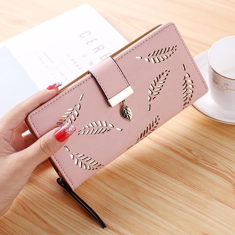 Neue Frauen lange Brieftasche Mode Kupplung Bag Hohl Blatt Reißverschluss Schnalle Brieftaschen Kartenhalter Schöne kleine Geldbörse Taschen