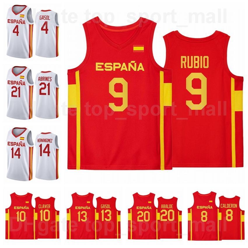 2021 Juegos Olímpicos de Tokio España Jersey de baloncesto 9 Ricky Rubio 13 Marc Gasol 4 Pau 21 Alex Abrines 10 Victor Claver 14 Willy Hernangomez 20 Alberto Dayalde Man Mujer joven