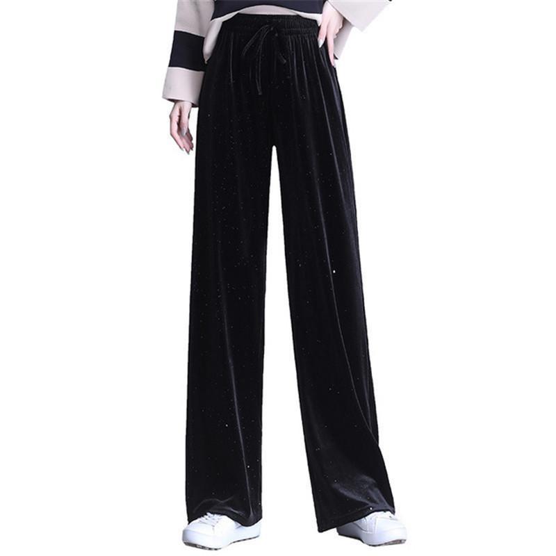 Golden Velvet Largo Pernas Calças Mulheres Mulheres Outono Inverno Casual Calças Cintura Alta Letra Loose Wide Leg Women Capris