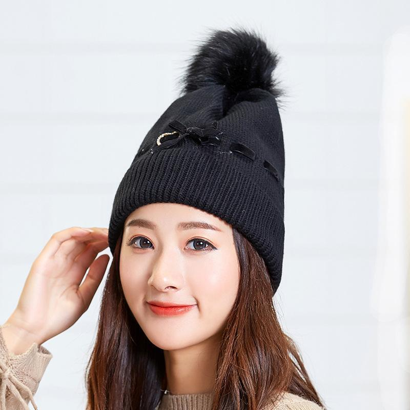 Sombreros de invierno para las mujeres amoroso corazón Bowknot Skullies Beanie Damas Moda al aire libre Esquí al aire libre Gorro Ocio Hip Hop Cap Bonnet Femme Beanie / Skull