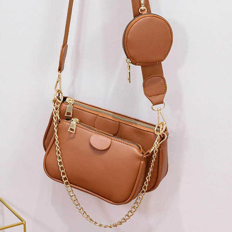 Frau Crossbody Bag Leder Neue Stil Drei in einem breiten Riemen Schulter Crossbody Bag 3 PC Set Umhängetasche mit Mini-Tasche C0601