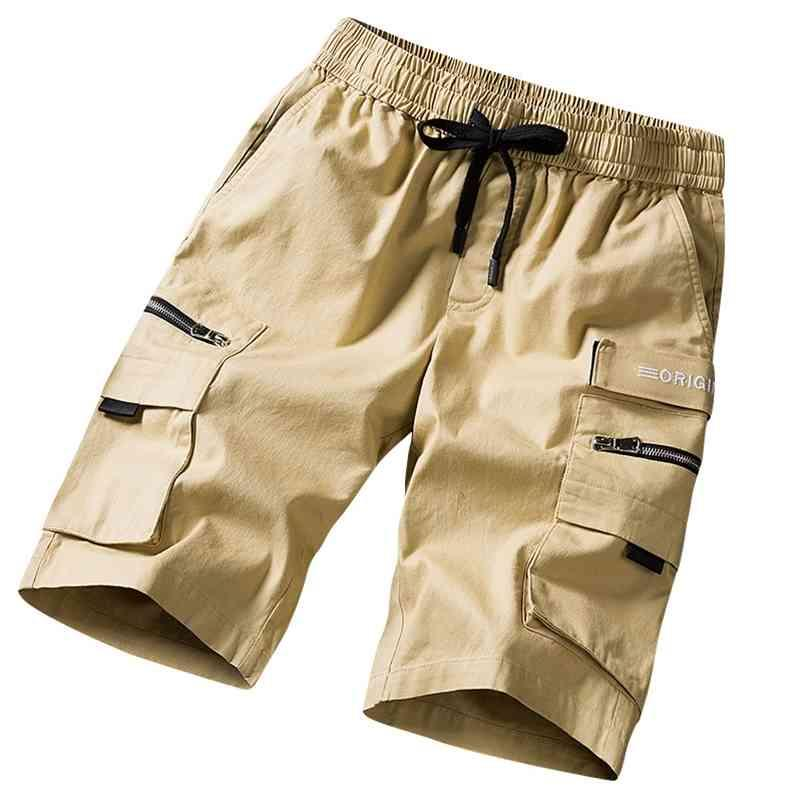 Streetwear Shorts Black Summer Moda Algodão Side Bolsos Bolsos Bermudas Masculino Elástico Cintura Elástica Casual Carga Shorts Homens 210322