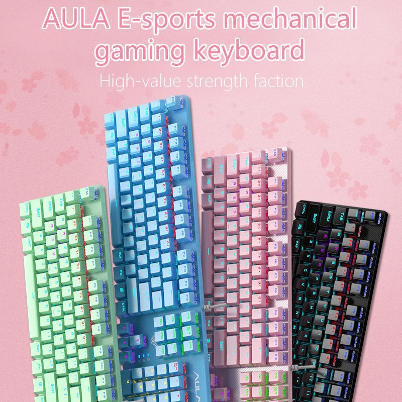 Tuşlar Mix Renk Aydınlatmalı Oyun Mekanik Klavye Çift Enjeksiyon KeyCap Gamer Mavi Anahtarı PC / Laptop Klavyeleri için