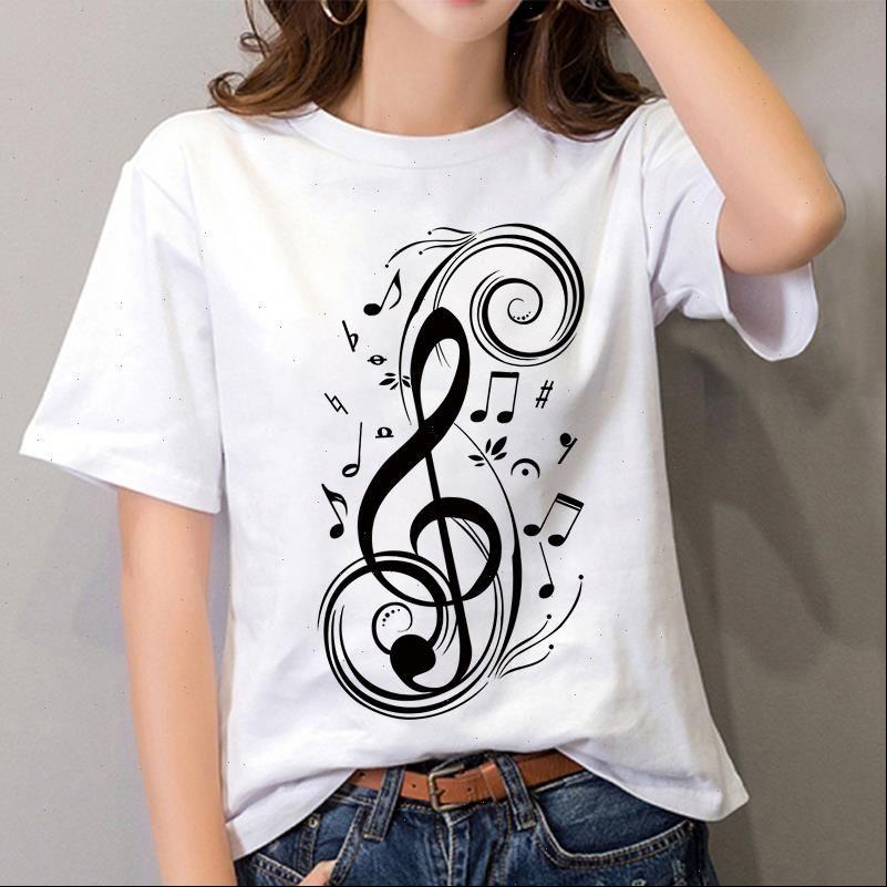 Womens T-shirt Mode kreative musikalische Anmerkung gedruckt Harajuku 90er Jahre Grafische weibliche Kurzarm Sommerkleidung