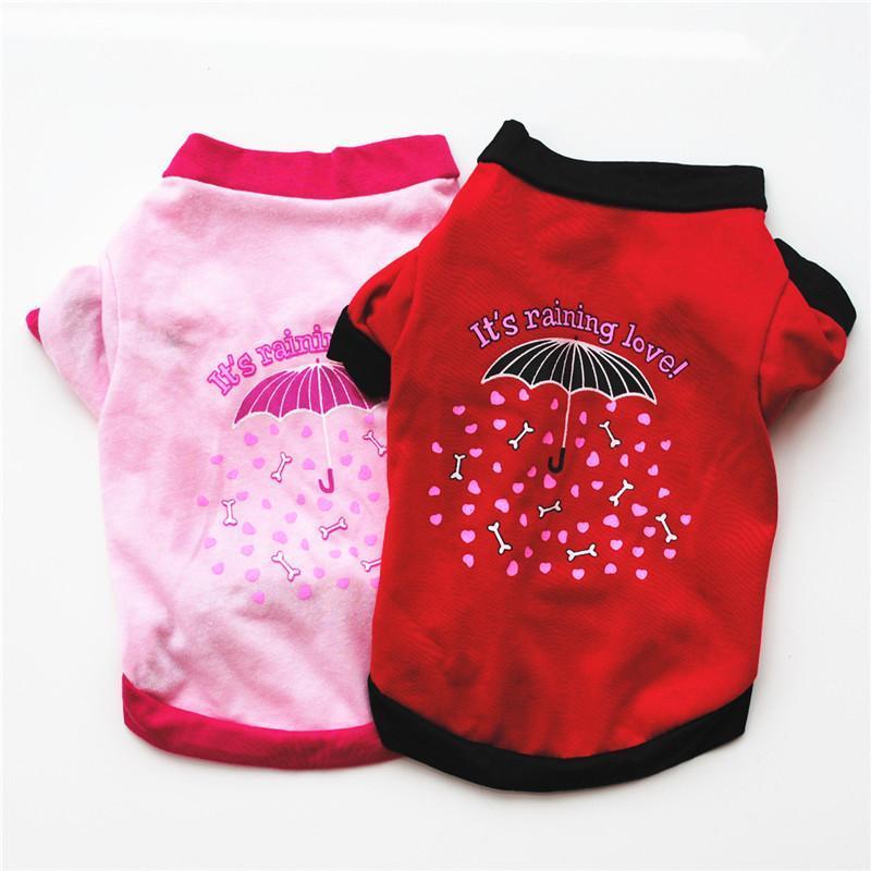 개 의류 애완 동물 조끼 강아지 빨간색 / 분홍색 우산 인쇄 작은 전체 판매를위한 편안한 여름 옷 티셔츠