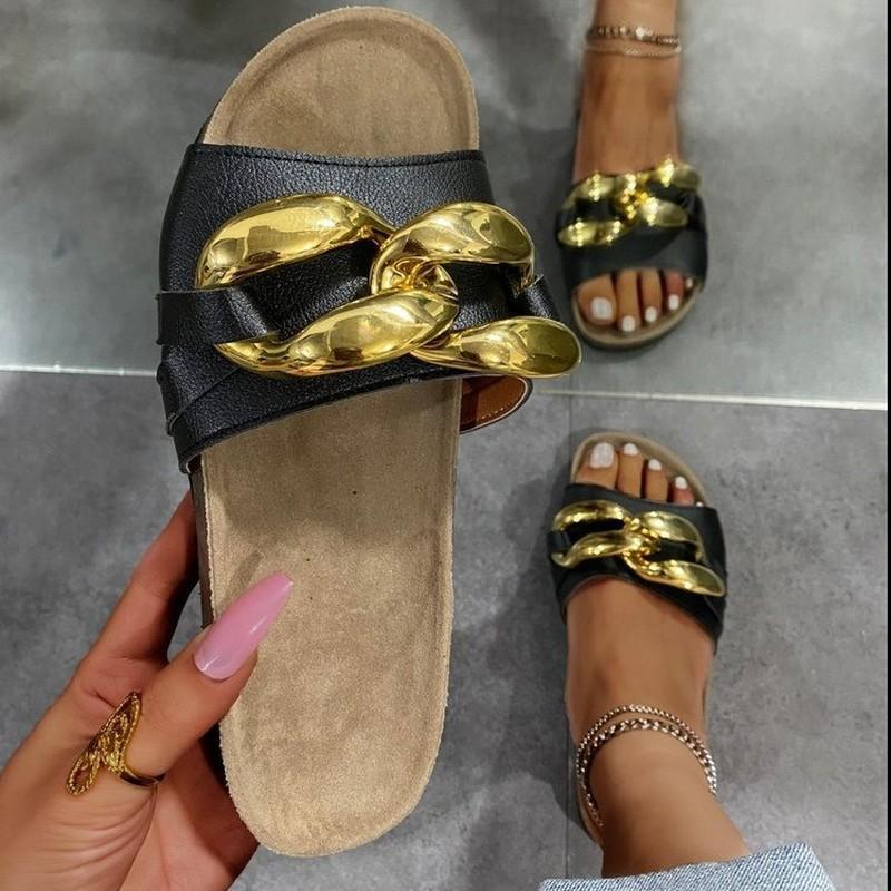 Chaîne blanche blanche plate-forme femmes sandales chaussures pour femmes 2021 SandAlilas SandAlilas Sandles Femme Pantoufles Printemps Été automne