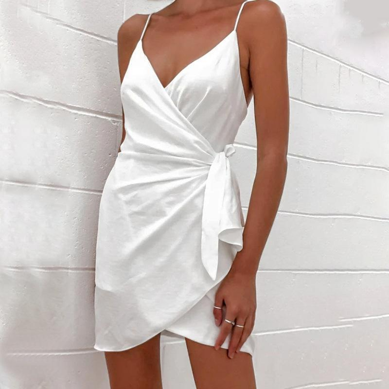 Kordelzug Weiß V-Ausschnitt Ärmellose Frauen Nachtclub Party Wrap Kleider Backless Lace-up Elegante Damen Casual Mini Kurze Kleidung