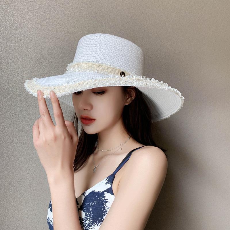 Moda Yaz Mektubu M Süslemeleri Kağıt Saman Caz Şapka Açık Erkekler Kadınlar Geniş Ağız Güneş Şapka Nefes Beach Seyahat Cap