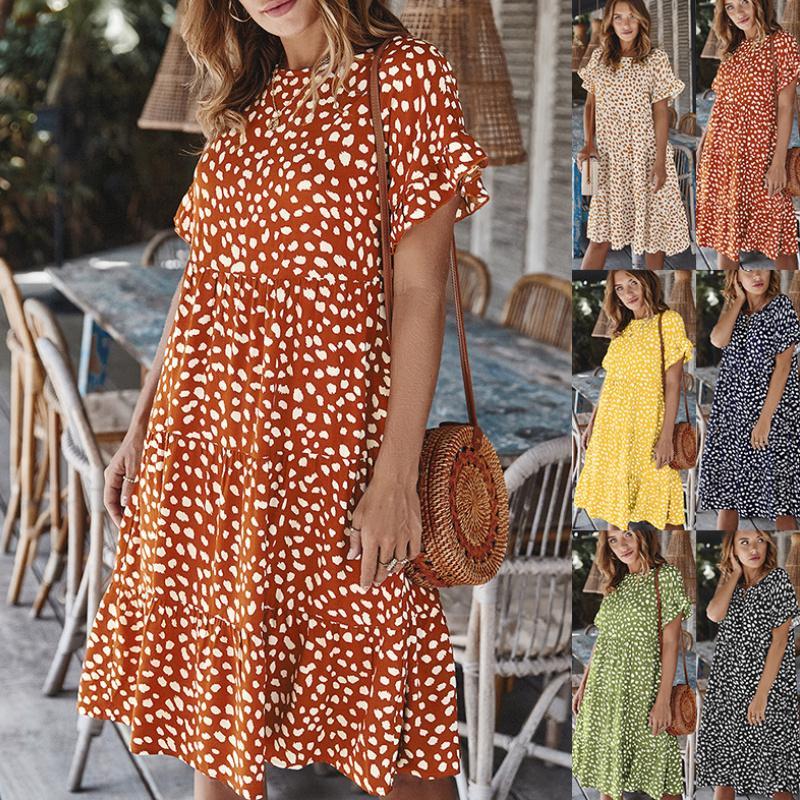 Платье Женщины в горошек Летние сарафаны Повседневная Свободная подходящая одежда Женская одежда Everyda
