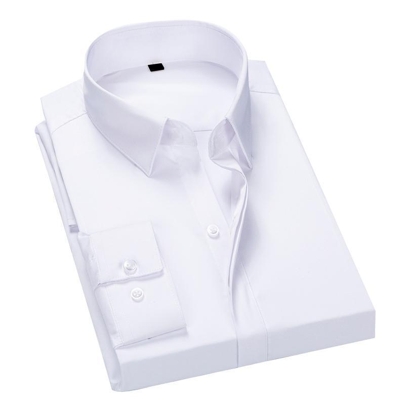 Autumn Mens Shirts Long Sleeves Button Down Simulation Mulberry Silk Luxury Wedding Party Tuxedo Shirt 5XL 6XL 7XL Men's Dress