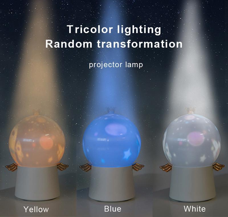 360도 Rotatio Guardian Angel 프로젝션 CX-03 램프 LED 다기능 꿈의 하늘 회전 음악 밤 빛 창의력 바다로