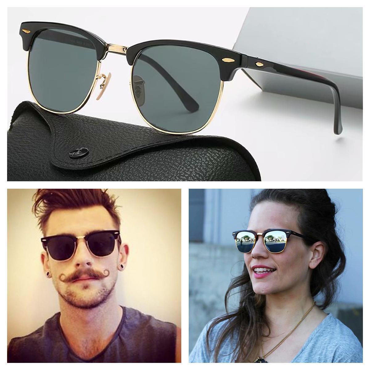Lujo nueva marca de diseño polarizado Gafas de sol para hombres Mujeres Piloto Gafas de sol UV400 Gafas Gafas de gafas Marco de metal Lente Polaroid Gafas de sol con caja