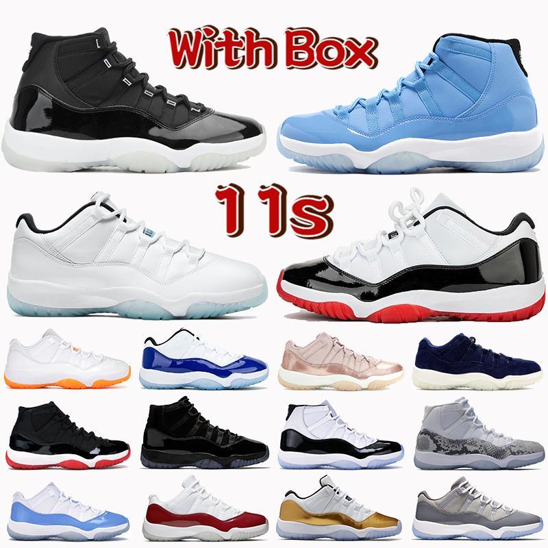 Kutu ile 11 11s Basketbol Ayakkabıları 25th Yıldönümü Düşük Beyaz Bred Legend Mavi Narenciye Concord Pantone Kap ve Elbise Erkek Kadın Sneakers Eğitmenler