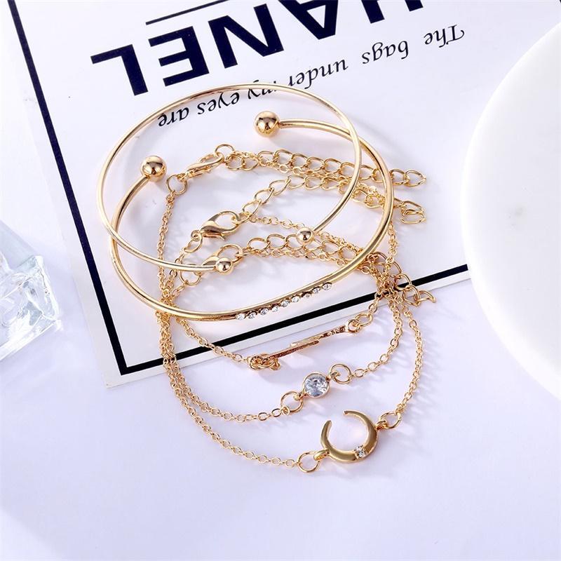 5pcs / set mode femme Charm Beach Gold Color Chain Lune Cristal Géométrie Chaîne Bracelet Bracelet Ensemble Bijoux Une vente directe