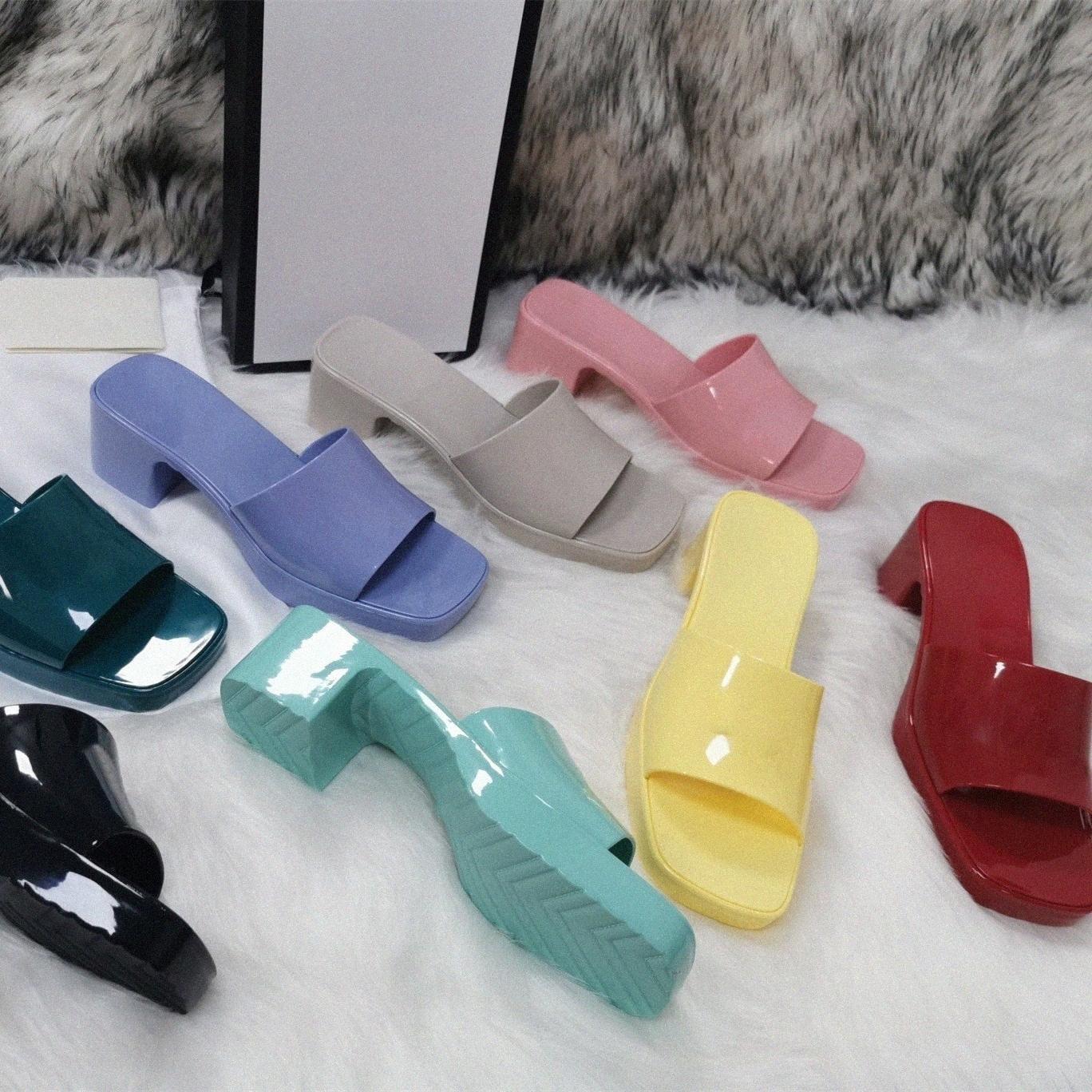 Frauen Gummi High Heel Slide Sandal Dame Obst Plattform Slipper Sommer Geprägte Süßigkeiten Farben Outdoor Strand Flip Flops Damen Slides Hausschuhe