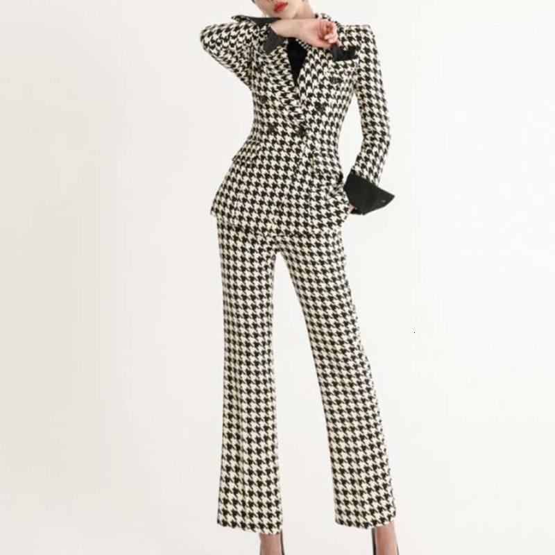 Women's Suits & Blazers Genayooa Elegant Two Piece Suit Long Sleeve High Quality Set Winter Slim Plaid Womens Blazer With Pants Fashion