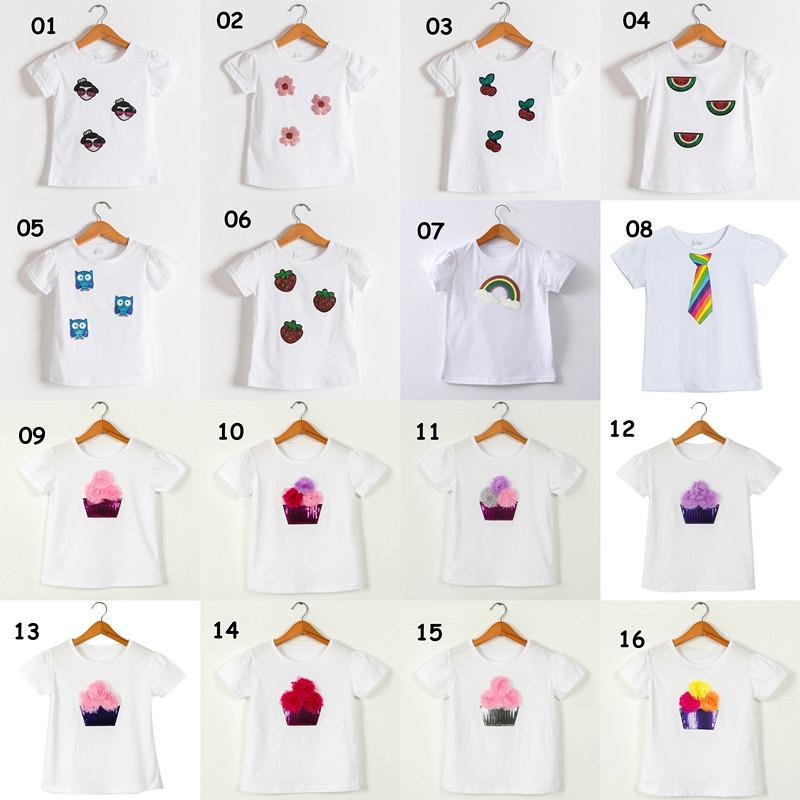 Baby Girl Goy T-shirts T-shirts Été Chemise de dessin animé Tee-shirt à manches courtes T-shirts à paillettes Bear Animal Kid Vêtements