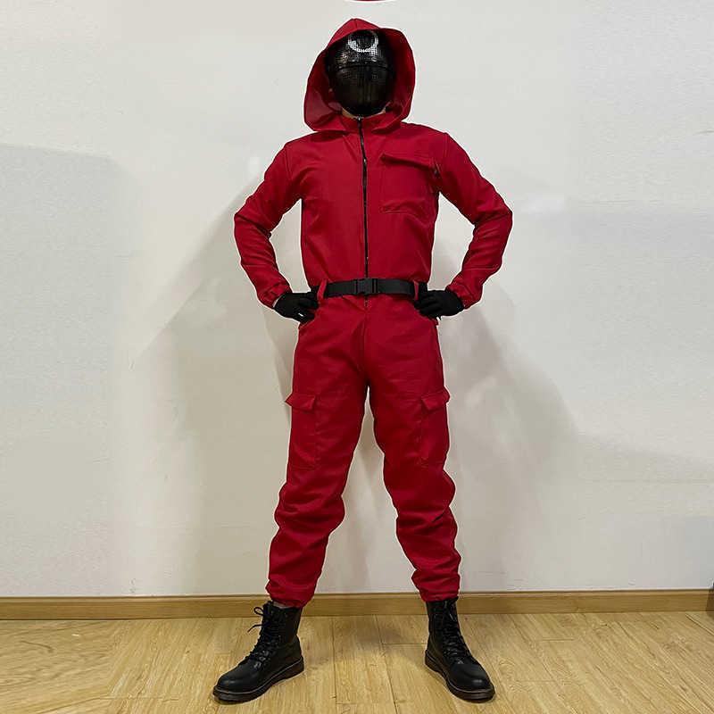 Calamari gioco mascherato tuta rossa S-XL costumi cosplay s-xl costumi di cosplay di un pezzo tuta con cappuccio con cappuccio pagliaccetto TV dramma coreano vestiti periferici Dress up playsuit con cintura + guanti G08Y25R