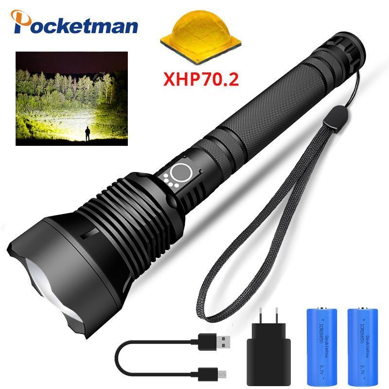 Süper Parlak LED XLAMP XHP70.2 USB Torch XHP70 Avcılık XHP50 18650 veya 26650 Şarj Edilebilir Pil Fenerleri Torches