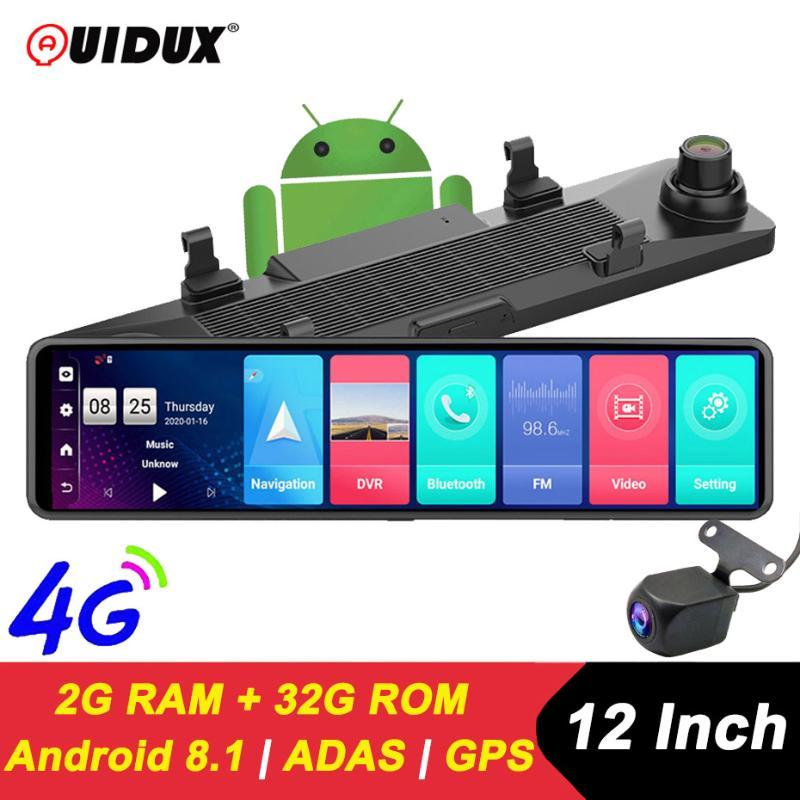 """12 """"IPS Carro DVR Retrovisor Espelho 2GB + ROM 32GB Android 8.1 WiFi 3 Screen Screen ADAS DAS DASH DASH CAM VIDEO Gravador DVRs"""