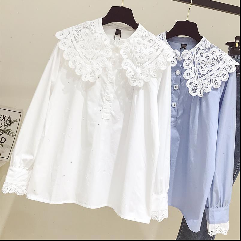 Bayan Gömlek Dantel Yaka Uzun Kollu Güz Kore Gevşek Rahat Bluz Kadın Moda Sokak Büyük Boy Beyaz Mavi Tops