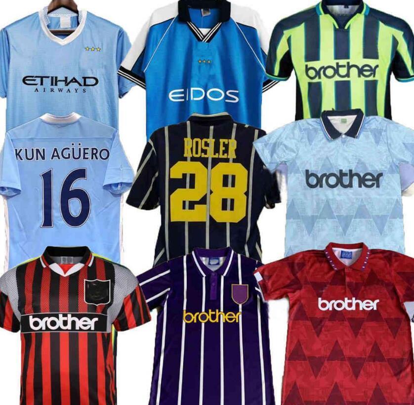 (Con IVA) 93 94 Retro Classic Soccer Jerseys 1998 99 2011 Città 95 11 12 Wembley Clough Kinkladze Tevez Kun Agüero Kompano Dzeko