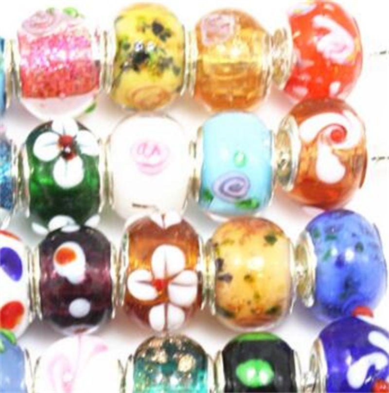 Perle di vetro di Murano di colore argento si adattano il braccialetto europeo del braccialetto del braccialetto e dei gioielli del braccialetto di fascino di 50pcs Mix 9 U2