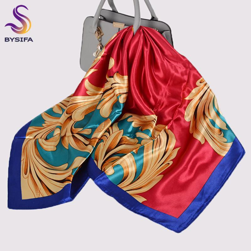 Sciarpe donne hijabs moda lusso oro rosso grande seta sciarpa scialle stampata autunno inverno ladies quadrato quadrato