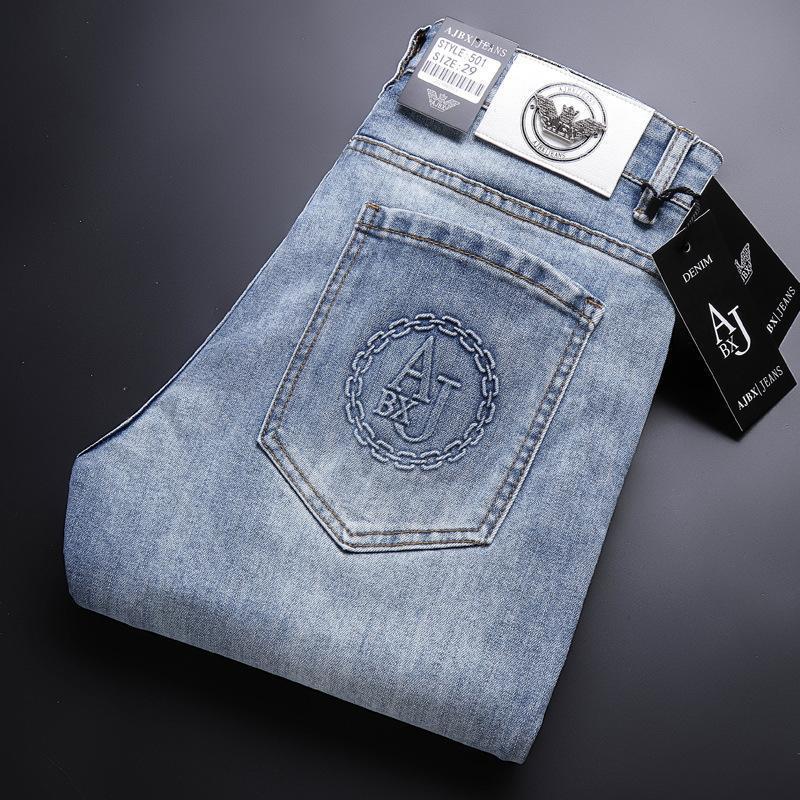 Jeans masculinos primavera verão azul algodão magro elástico ltaly águia casual moda calças masculinos calças de denim clássico
