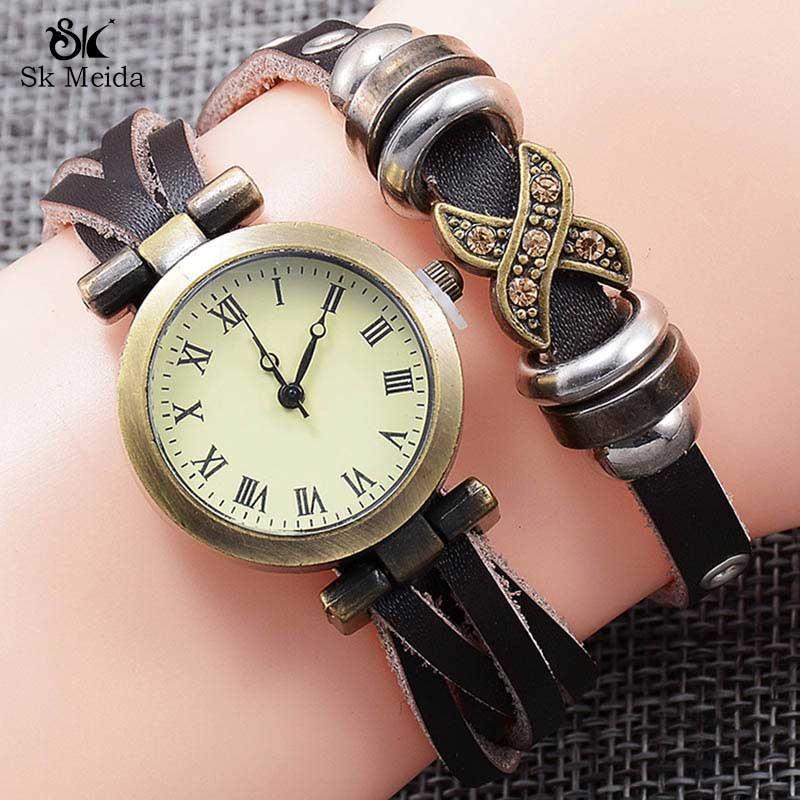 Moda Kuvars İzle Deri Bilezik Saatler Toka Metal Arama Bayanlar Nefis Kompakt Mizaç Yuvarlak Saat SW-66 Saatı