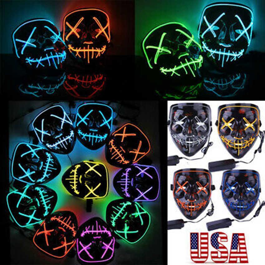 Cosplay 20 estilos Halloween Party LED Máscaras resplandecientes Club Iluminación DJ Mask Bar Joker Shield Face Guards Outdoor Gadgets Z
