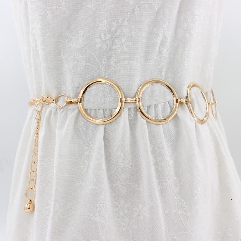Designer moda beltspring e verão coreano moda elegante ouro cintura vestido de cadeia decorado com metal grande cinto de anel