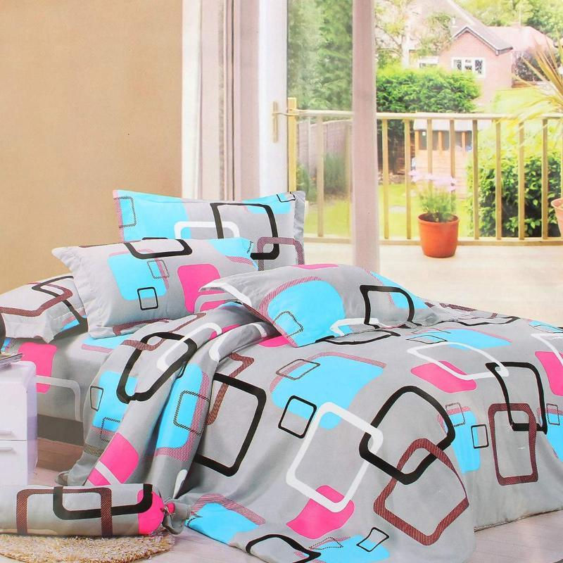 Bedding Sets 4Pcs Color Grids Printed Luxury Soft Bed Sheet And Pillowcases Quality Quilt Cover Home Textile Queen Full