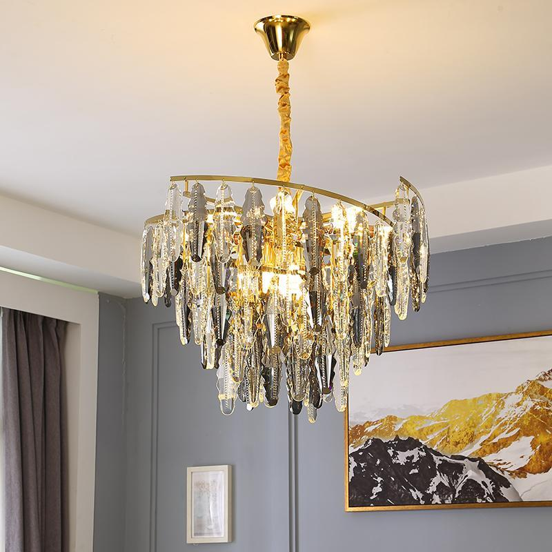 Luxus Gold Kronleuchter Beleuchtung für Wohnzimmer Runde Kristallvorrichtungen Moderne Wohnkultur LED Lampe Glanz Kronleuchter