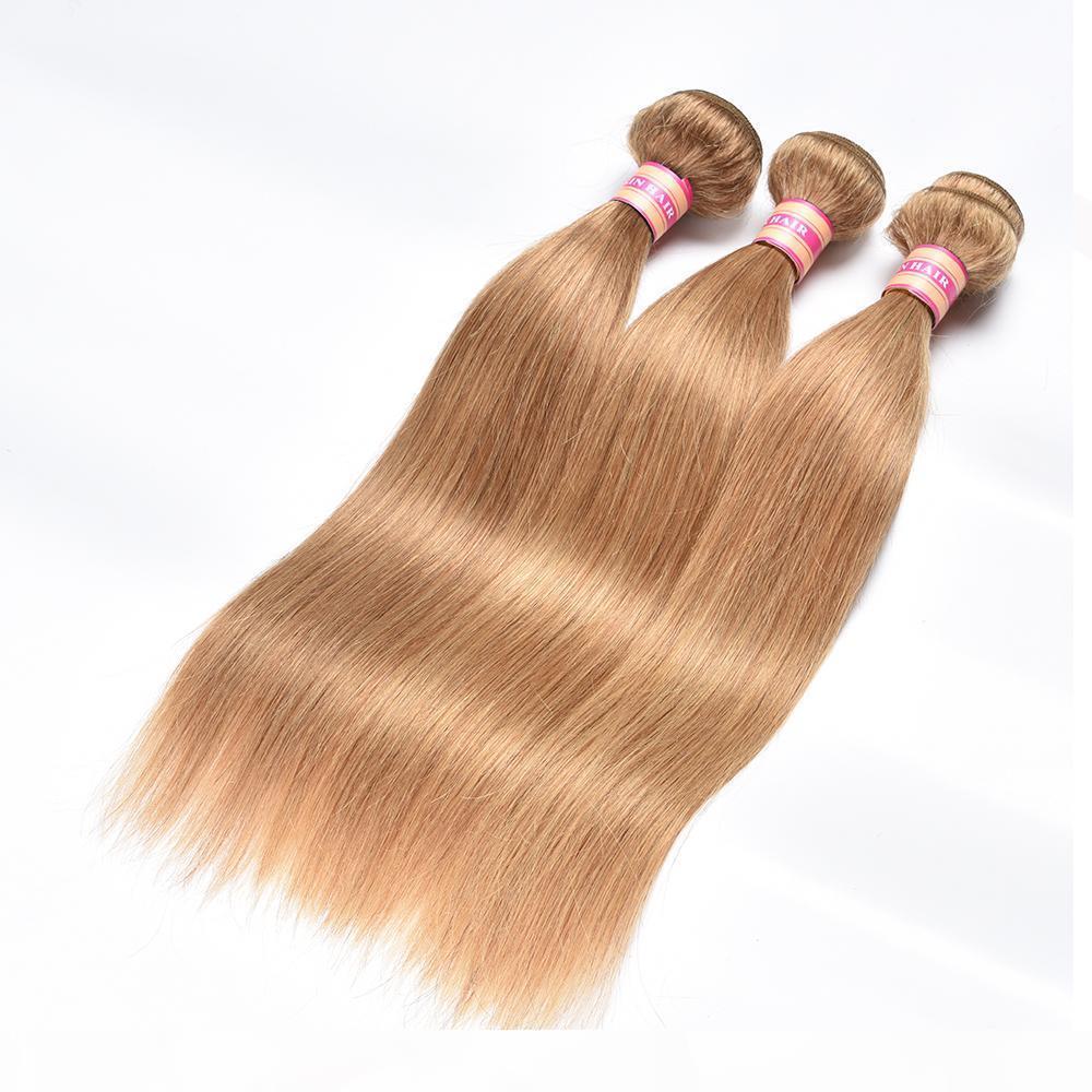 Cabelo loiro em linha reta pacotes de cabelo humano brasileiro com fecho de renda # 27 mel loira cabelo virgem brasileira com fecho de renda