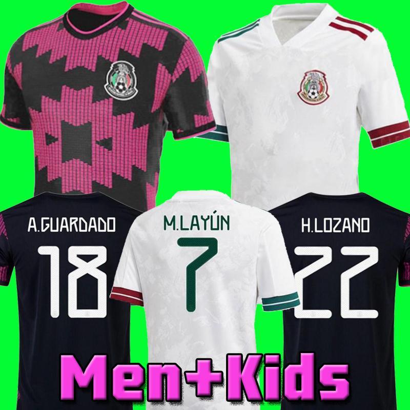المكسيك كرة القدم جيرسي الرئيسية كوبا أمريكا المشجعين المشجعين نسخة camiseta 20 21 تشيتشاريتو لوزانو دوس سانتوس 2020 2021 كرة القدم قميص الرجال + أطفال مجموعات مجموعات موحدة مايلوتس