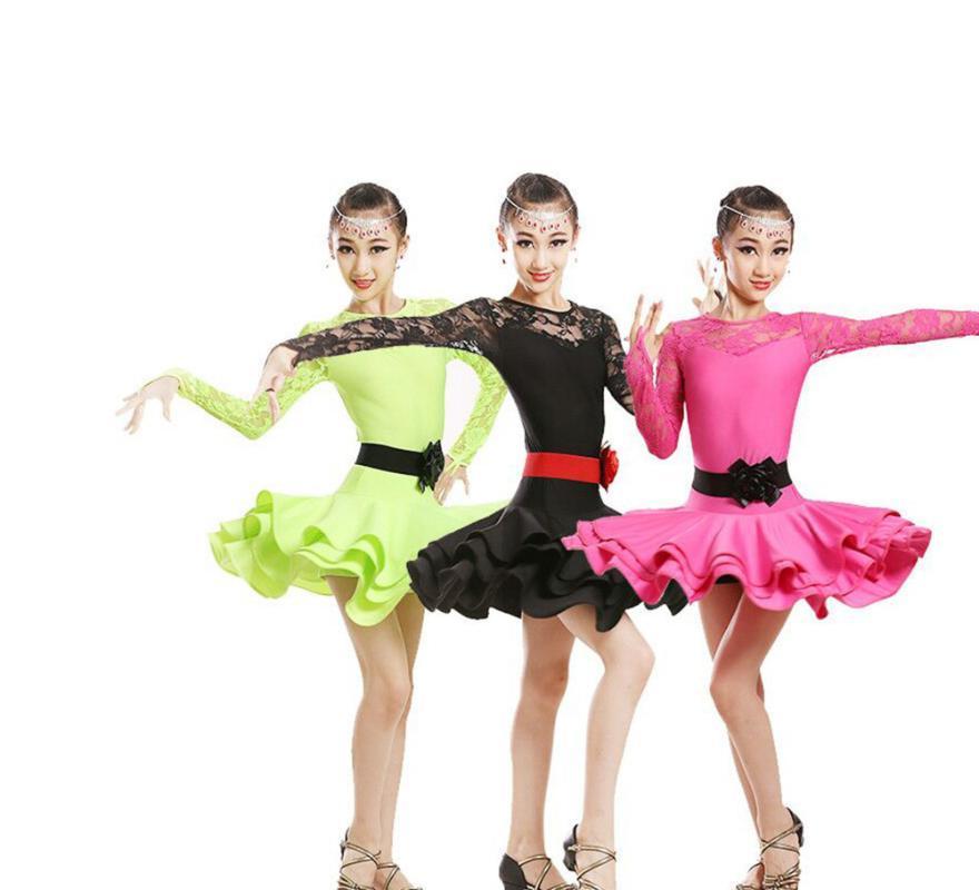 Sahne Aşınma Yüksek Kalite Seksi Dantel Çocuk Balo Salonu Giyim Kızlar Latin Dans Etekler Uzun kollu Elbise PerfoMing Kostümleri