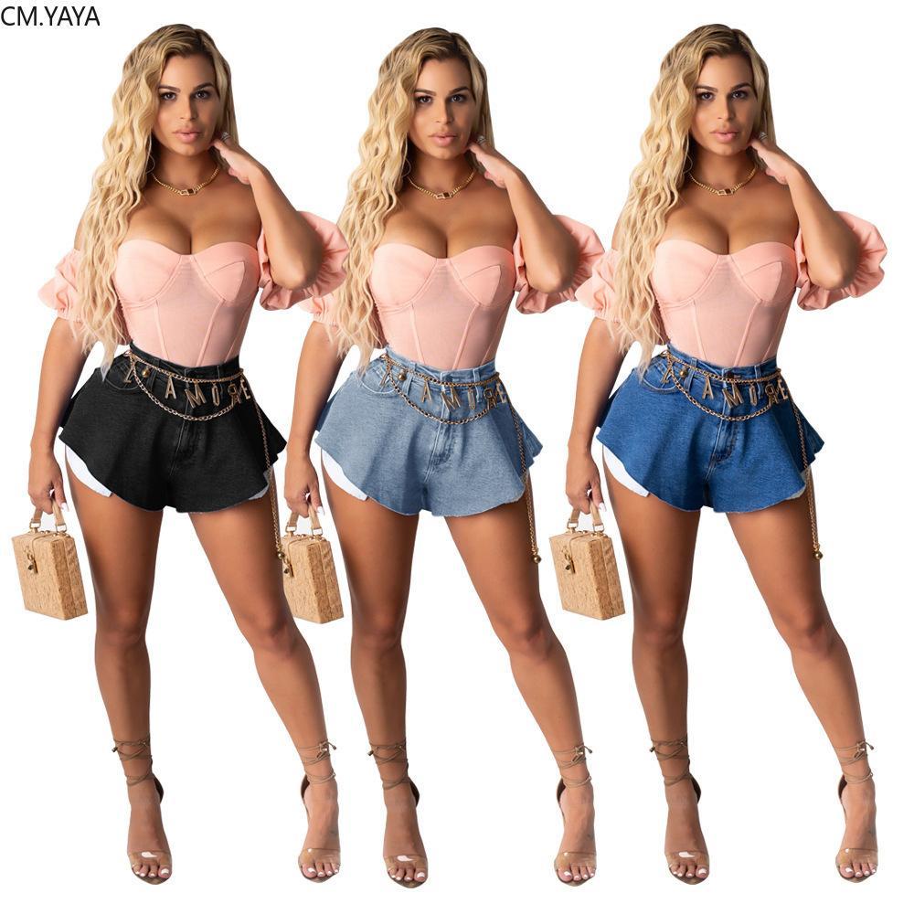 Cm. Yaya Mujeres Efectos Color Rits Up Flare Denim Shorts Streetwear Classic Short Jeans