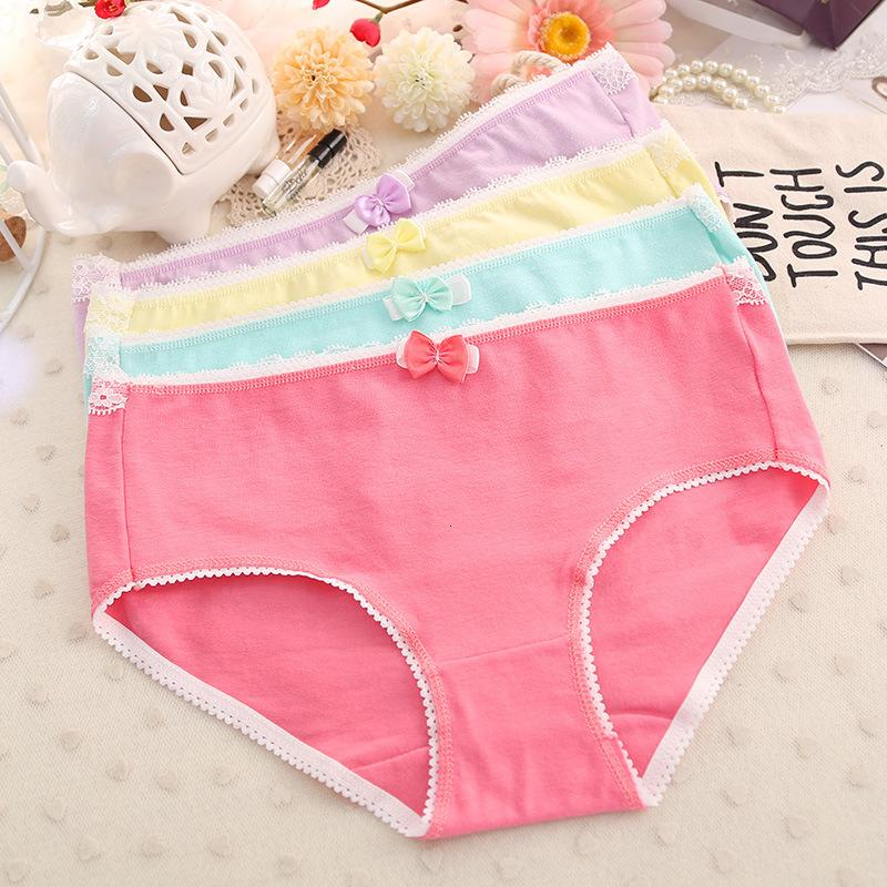 Bragas todas las prendas de ropa interior de algodón encaje ee puro lindo arco Buttos H015