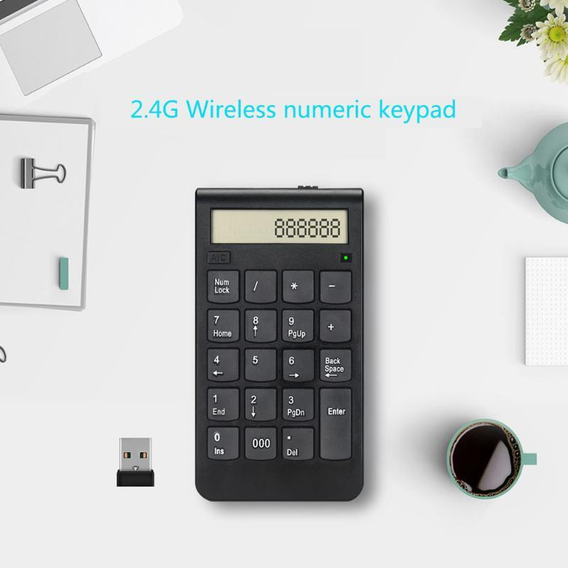 Wireless 2.4G Usb Number Keyboard/Calculator With Digital Display Rechargeable Mini 19 Keys Numeric Smart Keypad Office Supplies Keyboards