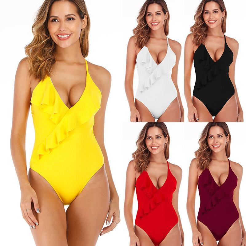 Traje de baño Mujer Bikini Europea y estadounidense Venta sexy con volantes de una pieza Color sólido de una sola pieza de trajes de baño de Biquini Trajes de baño