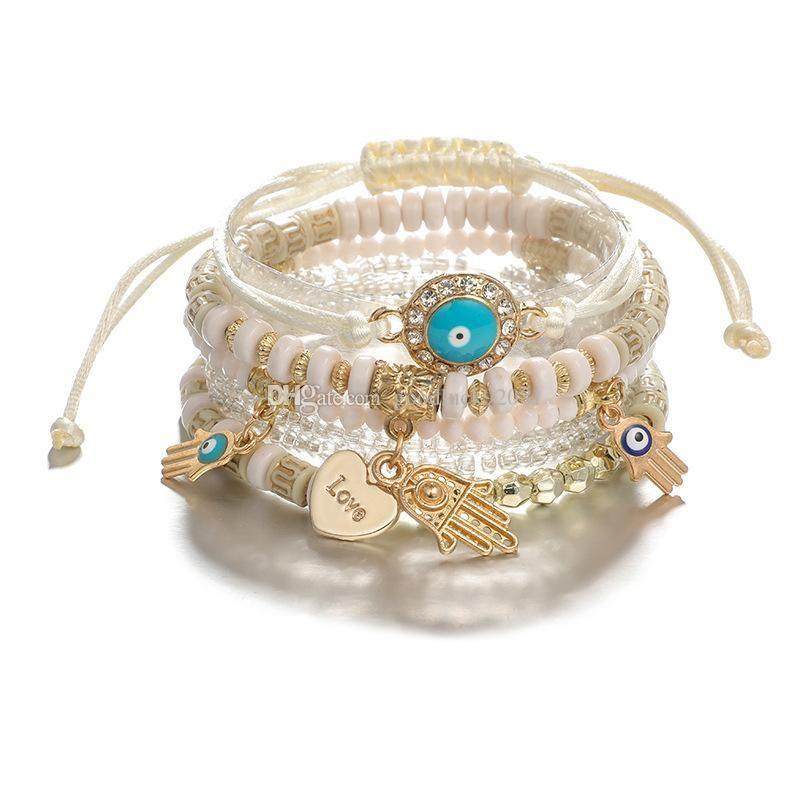 6 PCS / Set Bohemian Brazaletes con cuentas para las mujeres MULTILAYER Pulsera apilable Pulsera Set Multicolor Jewelry